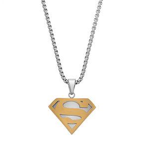 Men's Two Tone Stainless Steel DC Comics Superman Pendant Necklace