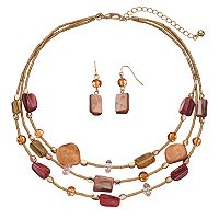 Composite Shell Beaded Multi Strand Necklace & Drop Earring Set
