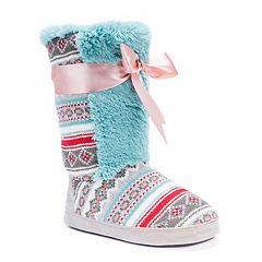 MUK LUKS Women's Jewel Sweater Knit Boot Slippers