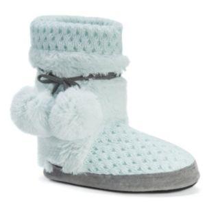 MUK LUKS Women's Delanie Knit Boot Slippers