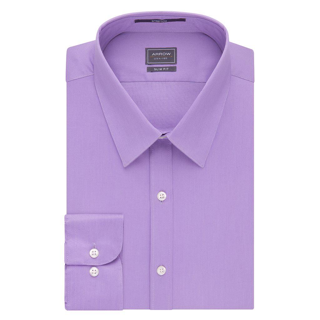 Men's Arrow Slim-Fit Solid Point-Collar Dress Shirt