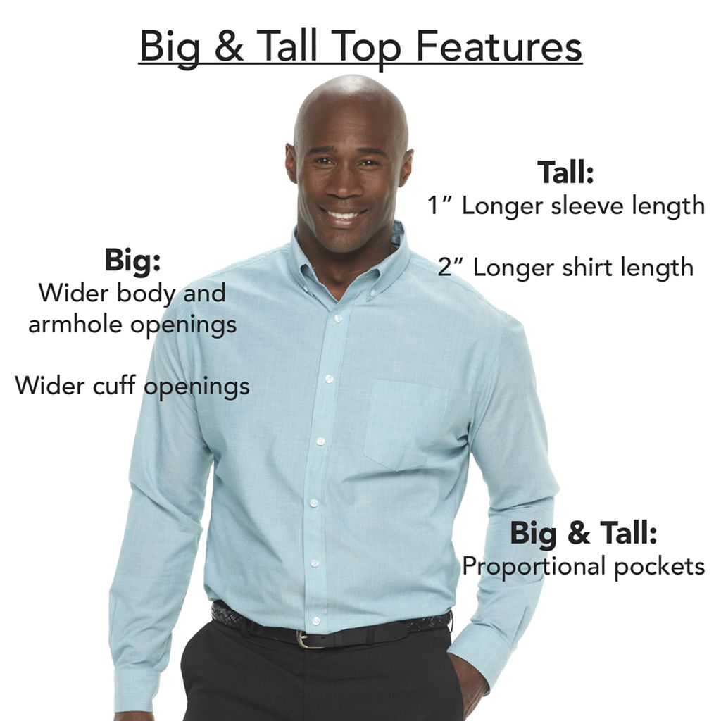 Big & Tall Croft & Barrow® Solid Broadcloth Point-Collar Dress Shirt
