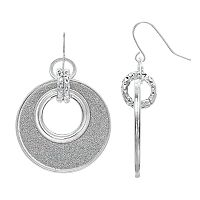 Glittery Silver Tone Drop Hoop Earrings