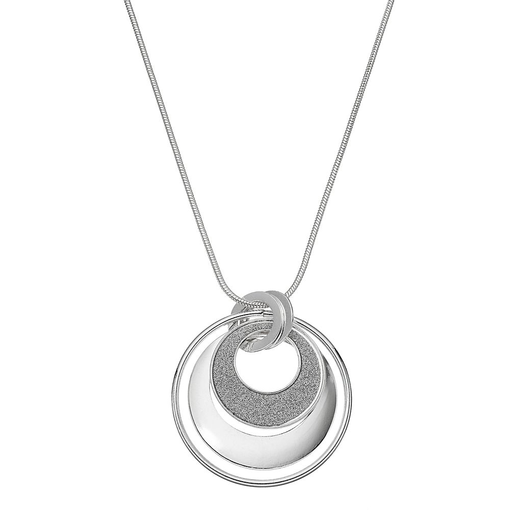 Long Glittery Interlocking Triple Ring Pendant Necklace