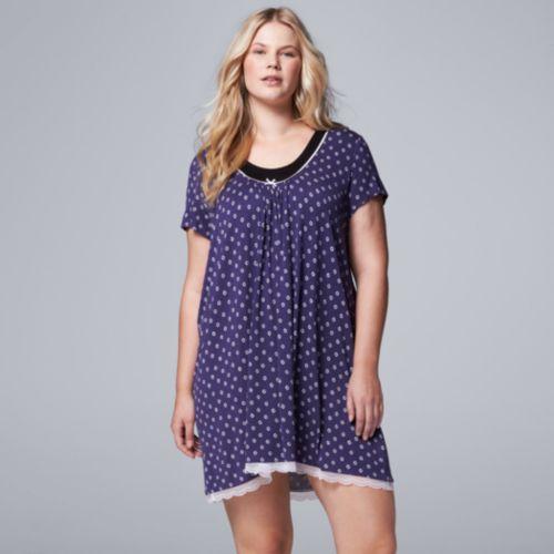 Plus Size Simply Vera Vera Wang Pajamas: Light & Lacy Short Sleeve Sleep Shirt