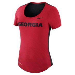 Women's Nike Georgia Bulldogs Dri-FIT Scoopneck Tee