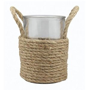 Stonebriar Collection Tall Rope Wrapped Pillar Candle Holder