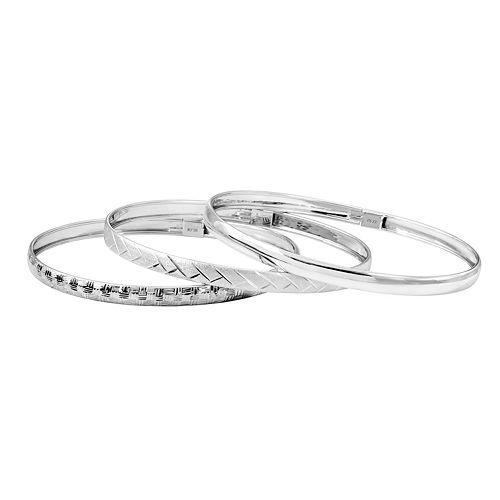 Sterling Silver Textured Bangle Bracelet Set