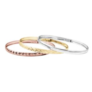 Tri Tone Sterling Silver Hinged Bangle Bracelet Set