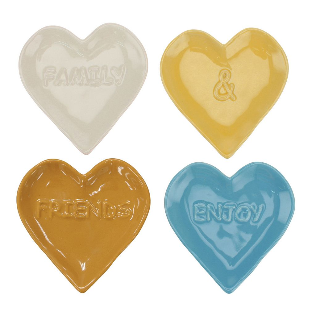Stonebriar Collection Sentiment Heart-Shaped Plates 4-piece Set