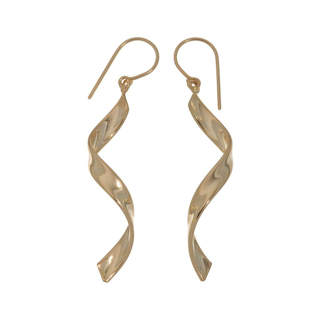18k Gold Twist Drop Earrings