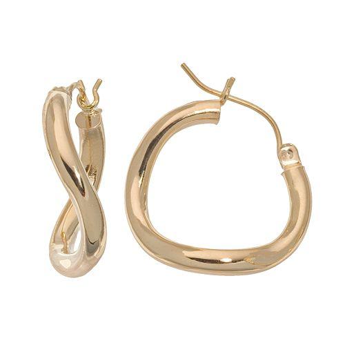 18k Gold Twist Hoop Earrings