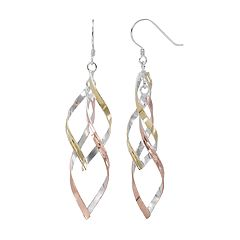 Silver Classics Tri Tone Sterling Silver Twist Drop Earrings