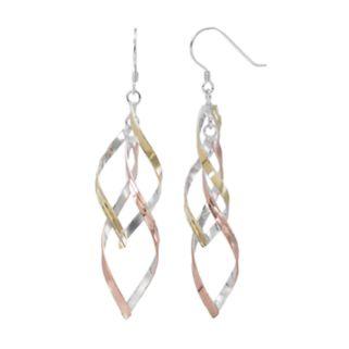 Silver Classics Tri Tone Sterling Silver Twist Drop Earrings