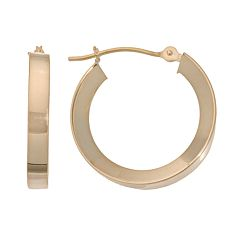 18k Gold Concave Hoop Earrings