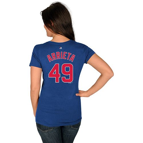 Women's Majestic Chicago Cubs Jake Arrieta Name and Number Tee