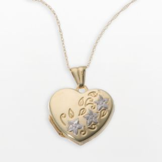 18k Gold Two Tone Heart and Flower Locket