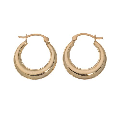 18k Gold Puffed Hoop Earrings