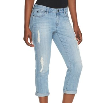 Women's Jennifer Lopez Ripped Denim Capris