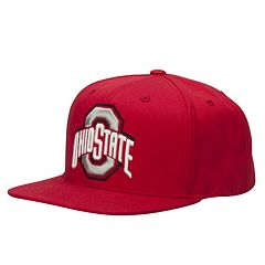 Adult Ohio State Buckeyes Touchback Red Flat Brim Snapback Cap