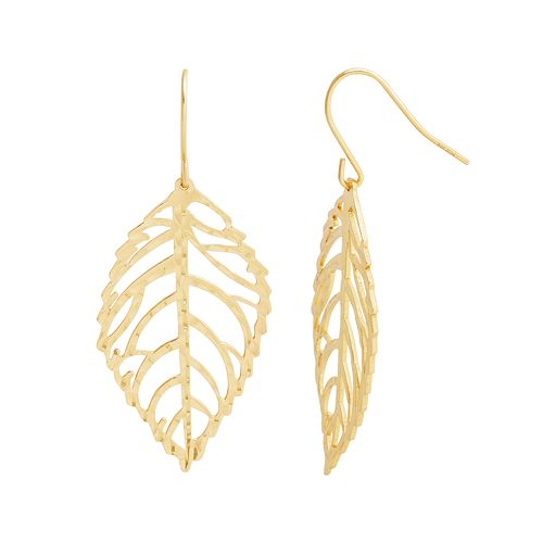 Silver Classics Gold Tone Sterling Silver Leaf Drop Earrings
