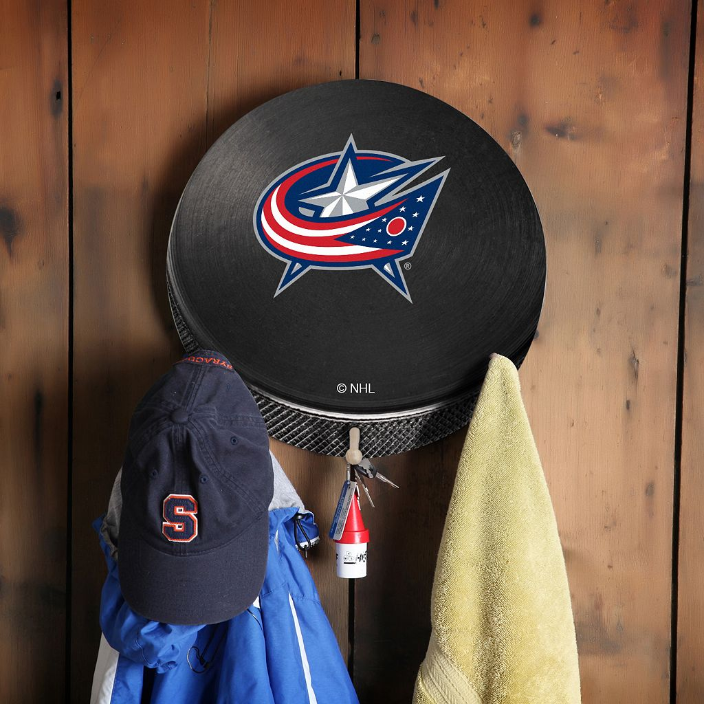 Columbus Blue Jackets Hockey Puck Coat Hanger