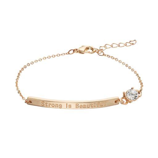 "LOLI BIJOUX Breast Cancer Awareness ""Strong Is Beautiful"" Bar Link Bracelet"