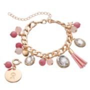 LOLI BIJOUX Breast Cancer Awareness Beaded Pink Ribbon Charm Bracelet
