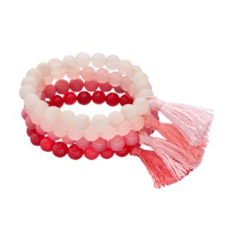 LOLI BIJOUX Breast Cancer Awareness Pink Beaded Tassel Stretch Bracelet Set