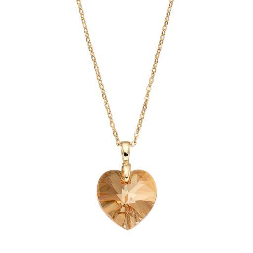 Brilliance Gold Tone Heart Pendant with Swarovski Crystals