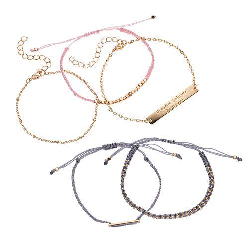 LOLI BIJOUX Breast Cancer Awareness Bracelet Set