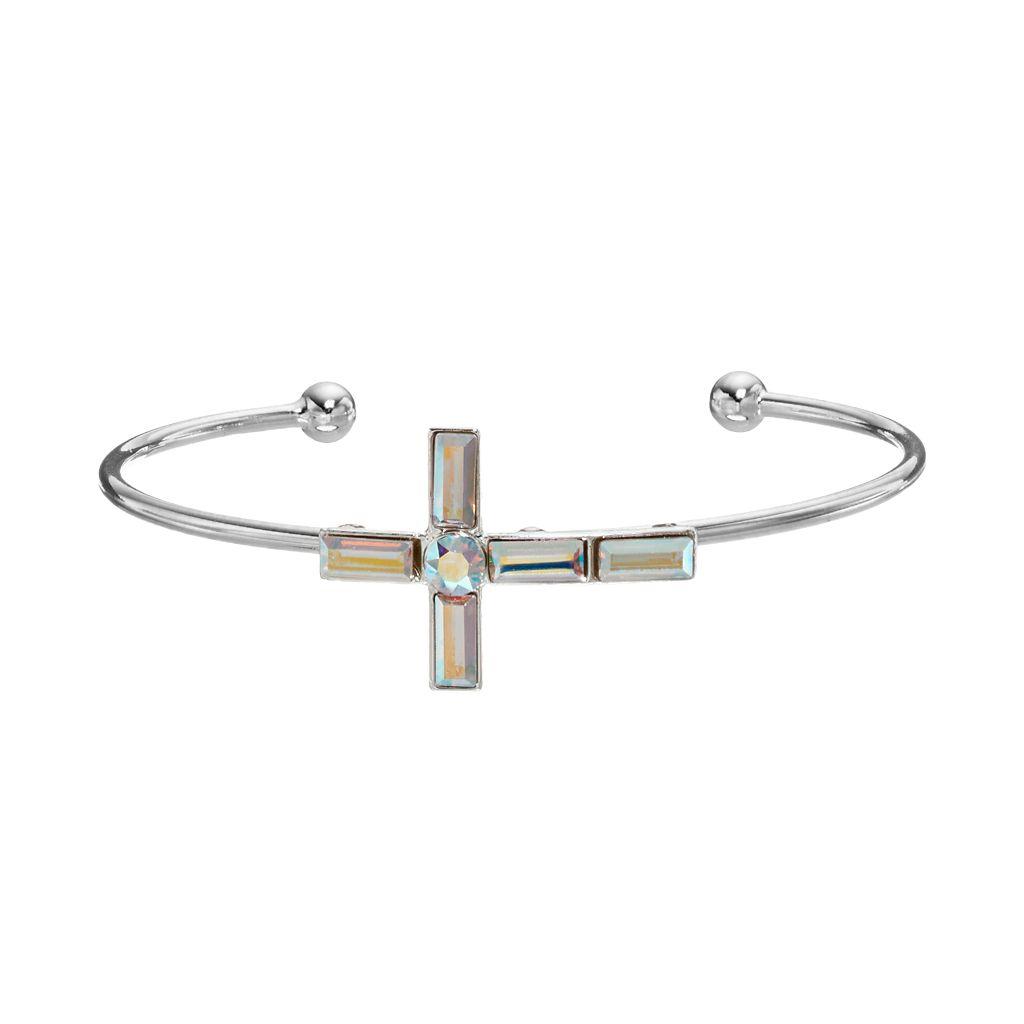 Brilliance Silver Plated Sideways Cross Cuff Bracelet with Swarovski Crystals