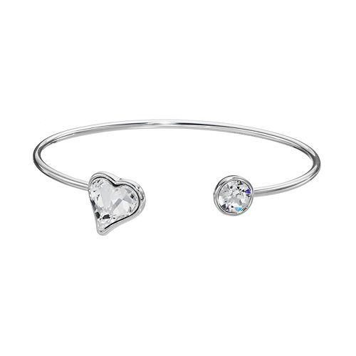 Brilliance Silver Plated Heart Cuff Bracelet with