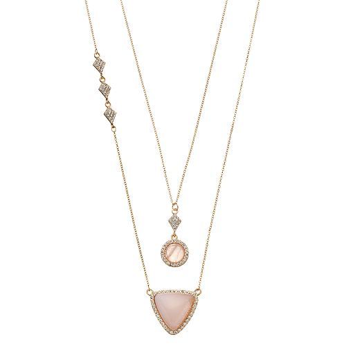 LOLI BIJOUX Breast Cancer Awareness Pink Geometric Necklace Set