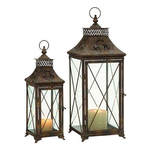 Scalloped Lattice Metal & Glass Lantern 2-piece Set