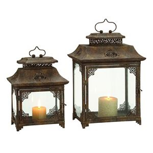 Filigree Metal & Glass Lantern 2-piece Set