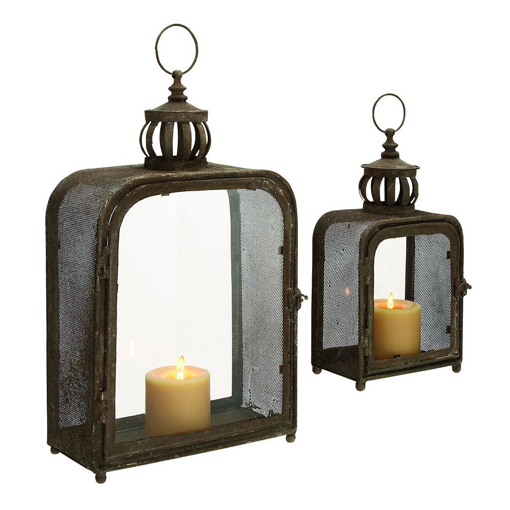 Rounded Square Candle Lantern 2-piece Set