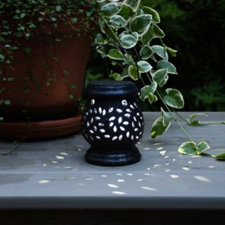LumaBase Solar Powered White Ceramic Lantern