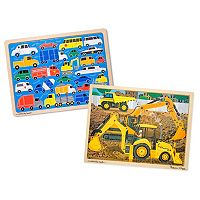 Melissa & Doug Beep Beep & Construction 24 pc Jigsaw Puzzle Bundle
