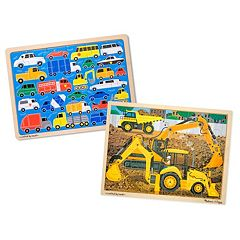 Melissa & Doug Beep Beep & Construction 24 pc Jigsaw Puzzle Bundle