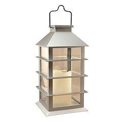 LumaBase Silver Solar Lantern & LED Candle