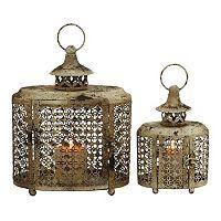 Distressed Pierced Clover Lattice Metal Candle Lantern 2-piece Set