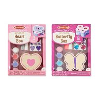 Melissa & Doug Decorate-Your-Own Heart Box & Butterfly Box Bundle