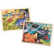 Melissa & Doug Ocean Pals & Dinosaurs 24 pc Jigsaw Bundle