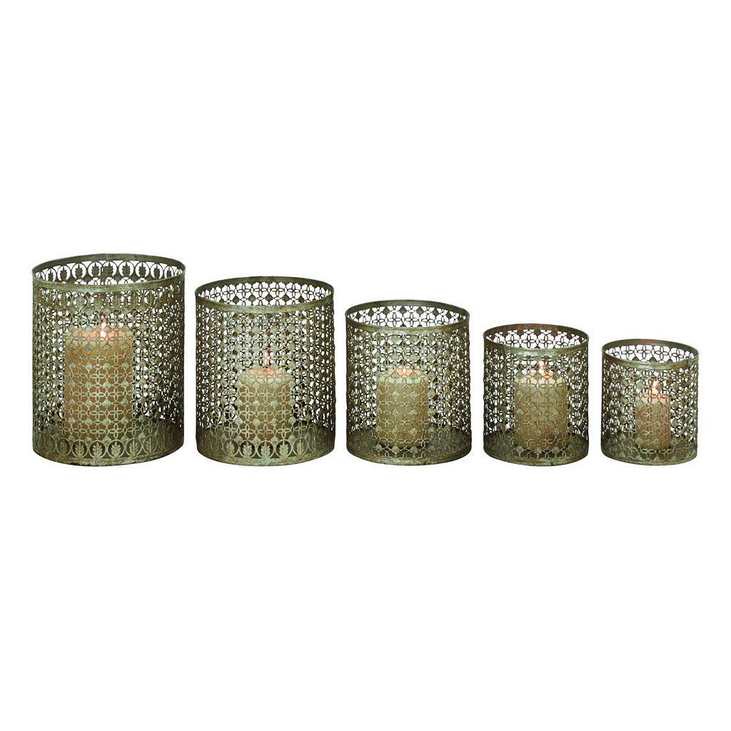 Perforated Lattice Metal Candle Holder 5-piece Set