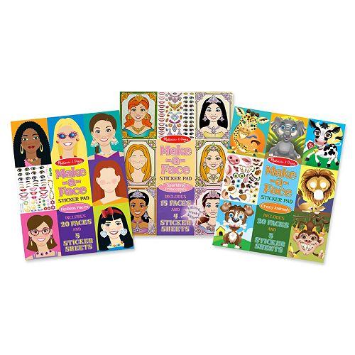 Melissa & Doug Princesses, Fashion & Crazy Animals Make-A-Face Sticker Bundle