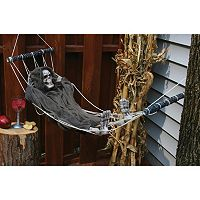 Lazy Bones Posable Skeleton Reaper & Hammock 64-Inch Halloween Décor