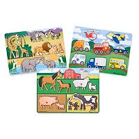 Melissa & Doug Farm, Vehicles & Safari Peg Puzzle Bundle