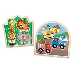 Melissa & Doug Construction & Safari Jumbo Knob Puzzle Bundle