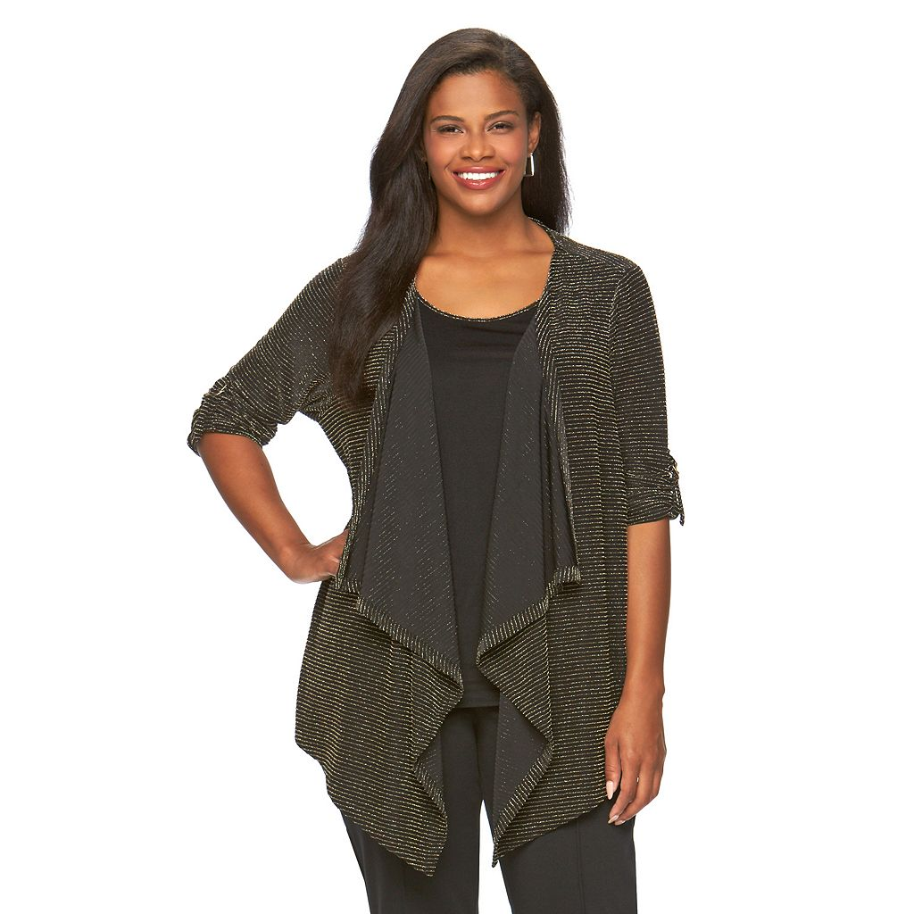 Plus Size Dana Buchman Roll-Tab Mock-Layered Top